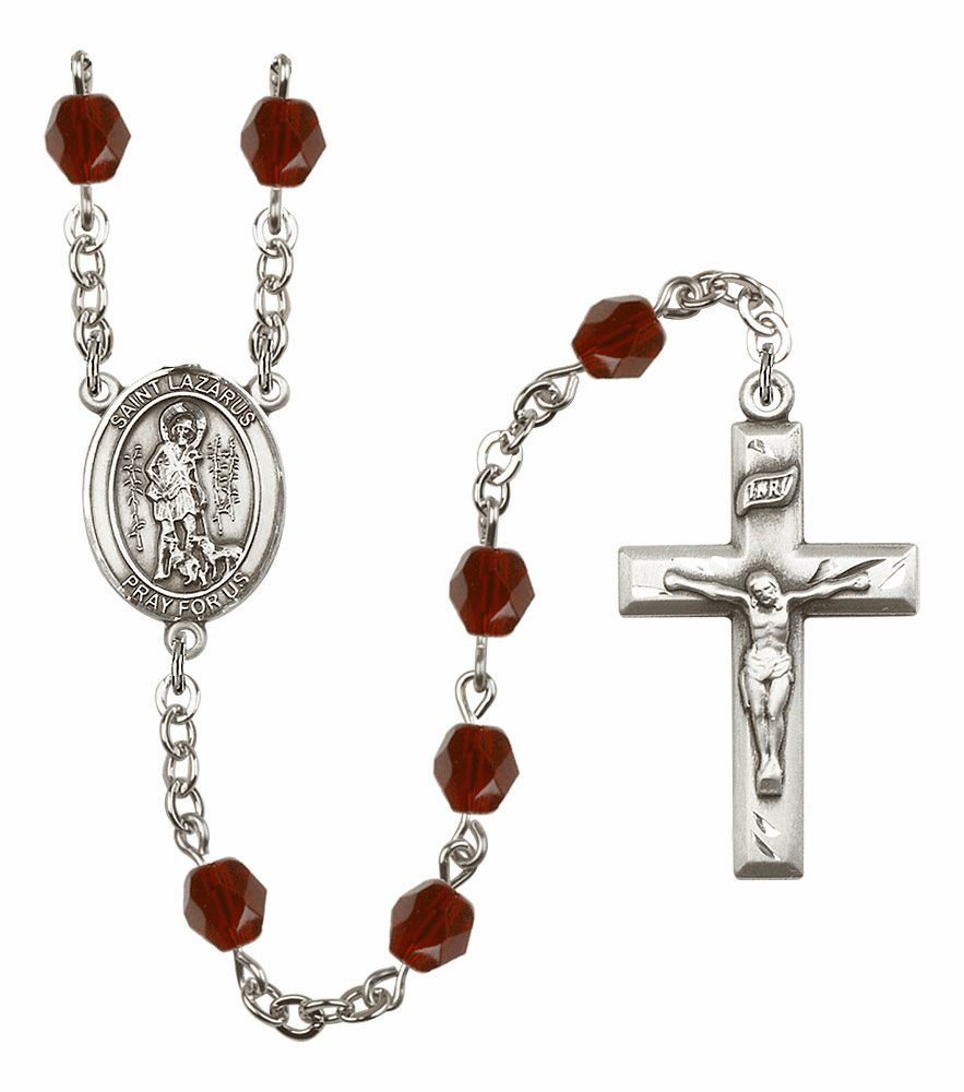 St Lazarus Silver Plate Birthstone Crystal Prayer Rosary by Bliss