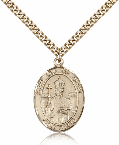 St Leo Gold-Filled Patron Saint Medal Necklace by Bliss