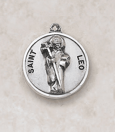 St Leo Sterling Sterling Patron Saint Medal w/Chain by Creed Jewelry