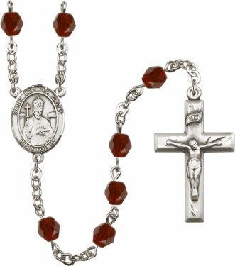 St Leo the Great Silver Plate Birthstone Crystal Prayer Rosary by Bliss