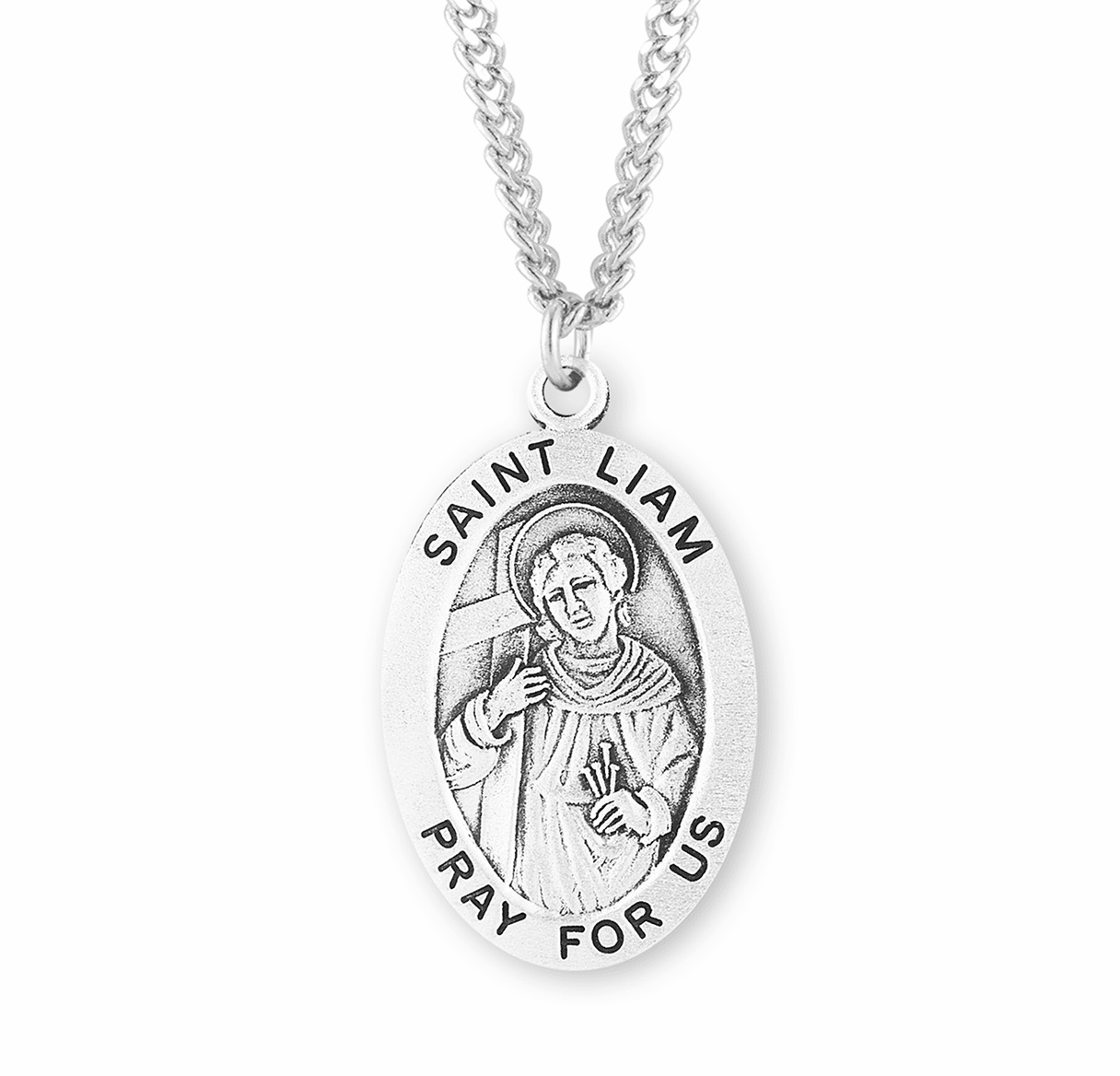 St Liam Large Oval Sterling Silver Patron Saint Medals by HMH Religious