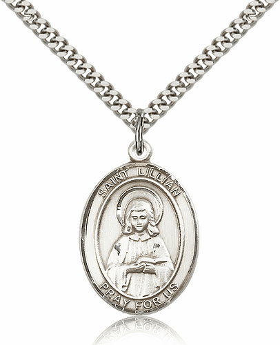 St Lillian Silver-Filled Patron Saint Necklace by Bliss