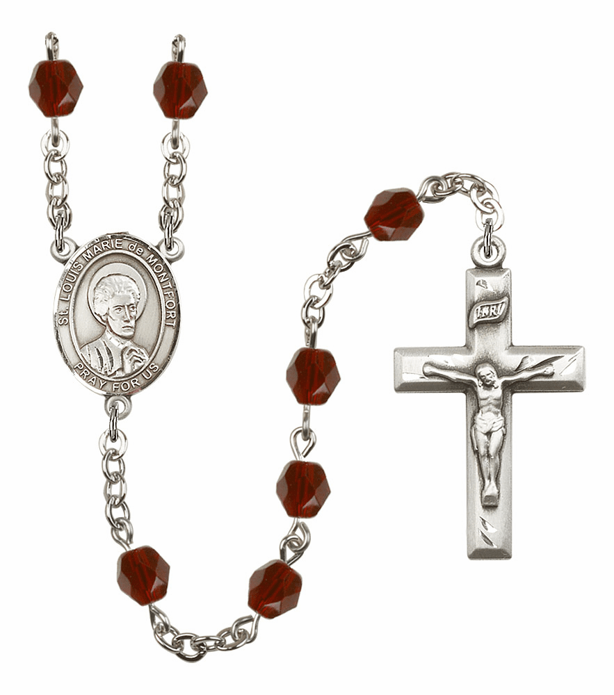 St Louis Marie de Montfort Silver Plate Birthstone Crystal Prayer Rosary by Bliss