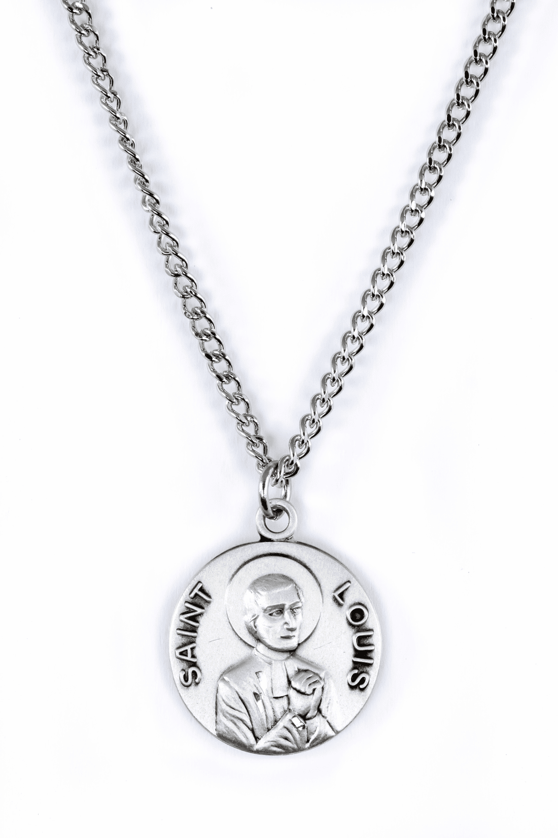 "St Louis Saint Medal Pendant w/18"" Chain by Jeweled Cross"