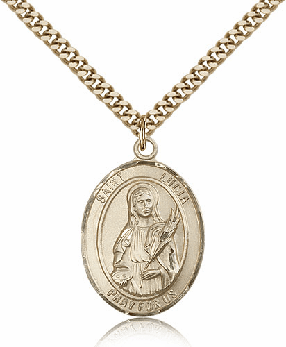 St Lucia of Syracuse 14kt Gold-filled Saint Necklace by Bliss