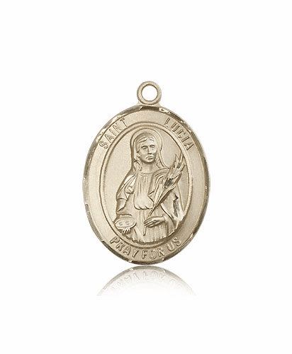 St Lucia of Syracuse 14kt Gold Patron Saint Pendant Medal by Bliss