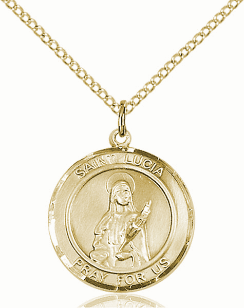 St Lucia of Syracuse Medium Patron Saint 14kt Gold-filled Medal by Bliss