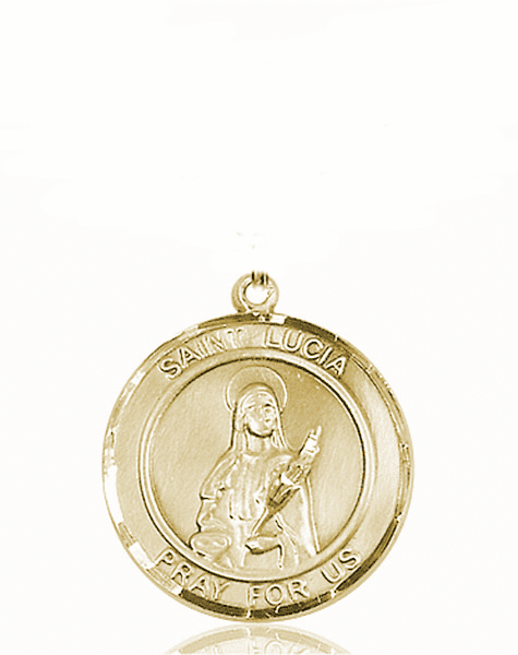 St Lucia of Syracuse Medium Patron Saint 14kt Gold Medal by Bliss