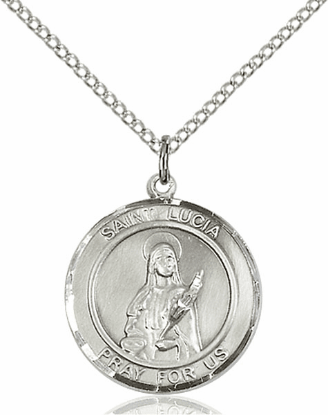 St Lucia of Syracuse Medium Patron Saint Pewter Medal by Bliss