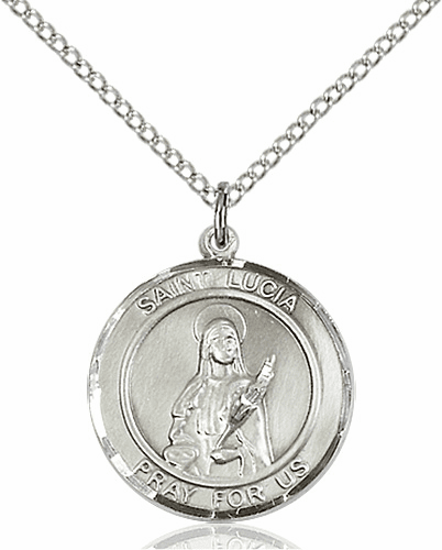 St Lucia of Syracuse Medium Patron Saint Sterling Silver Medal by Bliss