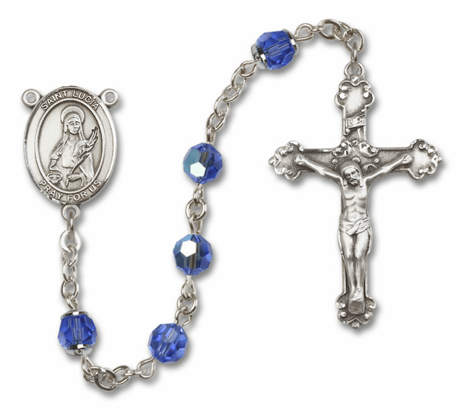 St Lucia of Syracuse Patron Saint Sapphire Swarovski Sterling Rosary by Bliss