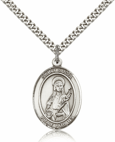 St Lucia of Syracuse Sterling Silver-filled Patron Saint Necklace by Bliss