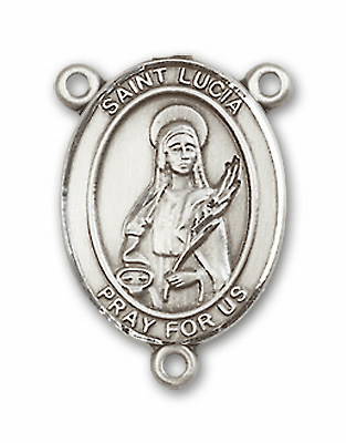 St Lucia of Syracuse Sterling Silver Saint Rosary Center by Bliss