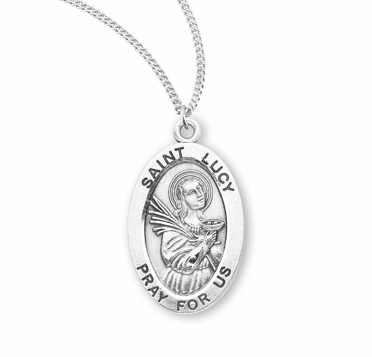 HMH Religious St Lucy Catholic Saint Sterling Silver Medal Necklace