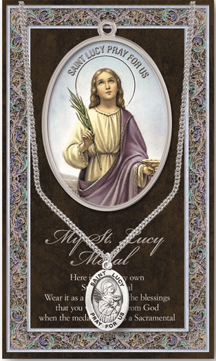 St Lucy Pewter Patron Saint Medal Necklace with Prayer Pamphlet by Hirten