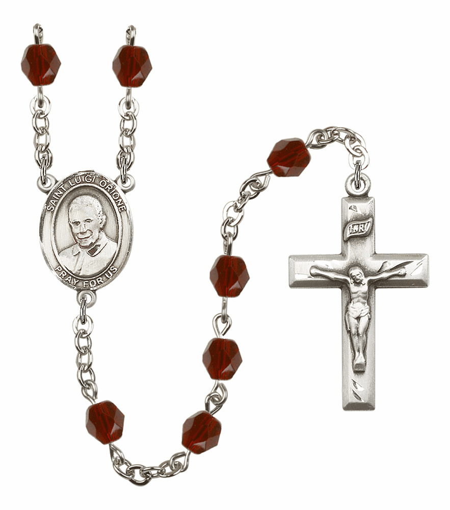 St Luigi Orione Silver Plate Birthstone Crystal Prayer Rosary by Bliss