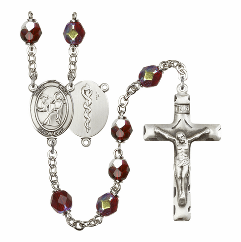 St Luke Doctor Medical 7mm Lock Link Aurora Borealis Garnet Rosary by Bliss Mfg