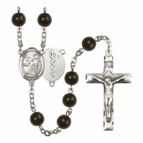 St Luke Doctor Medical Silver Plate 7mm Black Onyx  Prayer Rosary by Bliss