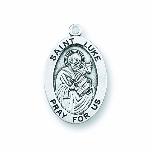St Luke Large Oval Sterling Silver Patron Saint Medals by HMH Religious