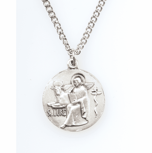 "St Luke Saint Medal Pendant w/18"" Chain by Jeweled Cross"