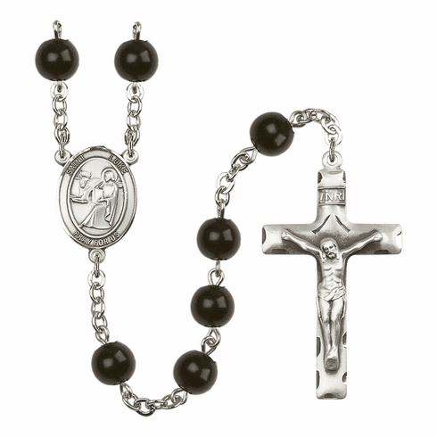 St Luke Silver Plate 7mm Black Onyx  Prayer Rosary by Bliss