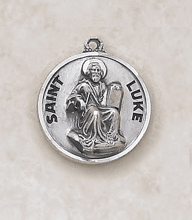 St Luke Sterling Sterling Patron Saint Medal w/Chain by Creed Jewelry