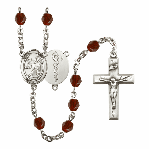 St Luke the Apostle Doctor Silver Plate Birthstone Crystal Prayer Rosary by Bliss