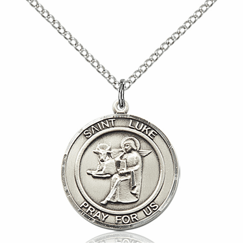 St Luke the Apostle Medium Patron Saint Silver-filled Medal by Bliss