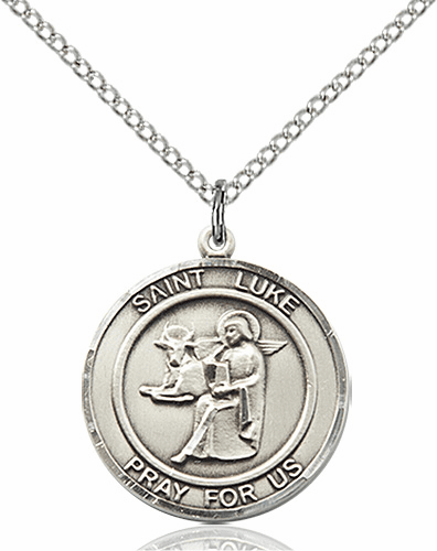 St Luke the Apostle Medium Patron Saint Sterling Silver Medal by Bliss
