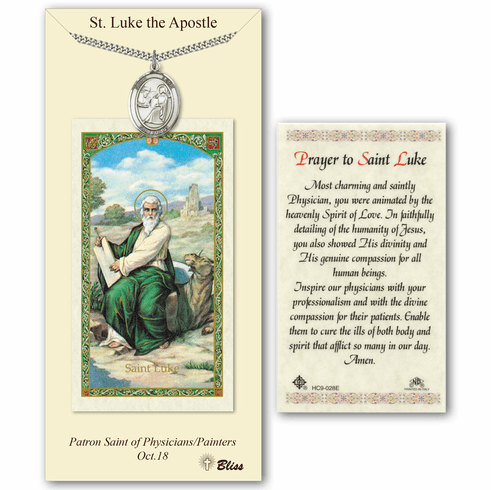 St Luke the Apostle Prayer Card & Pendant Gift Set