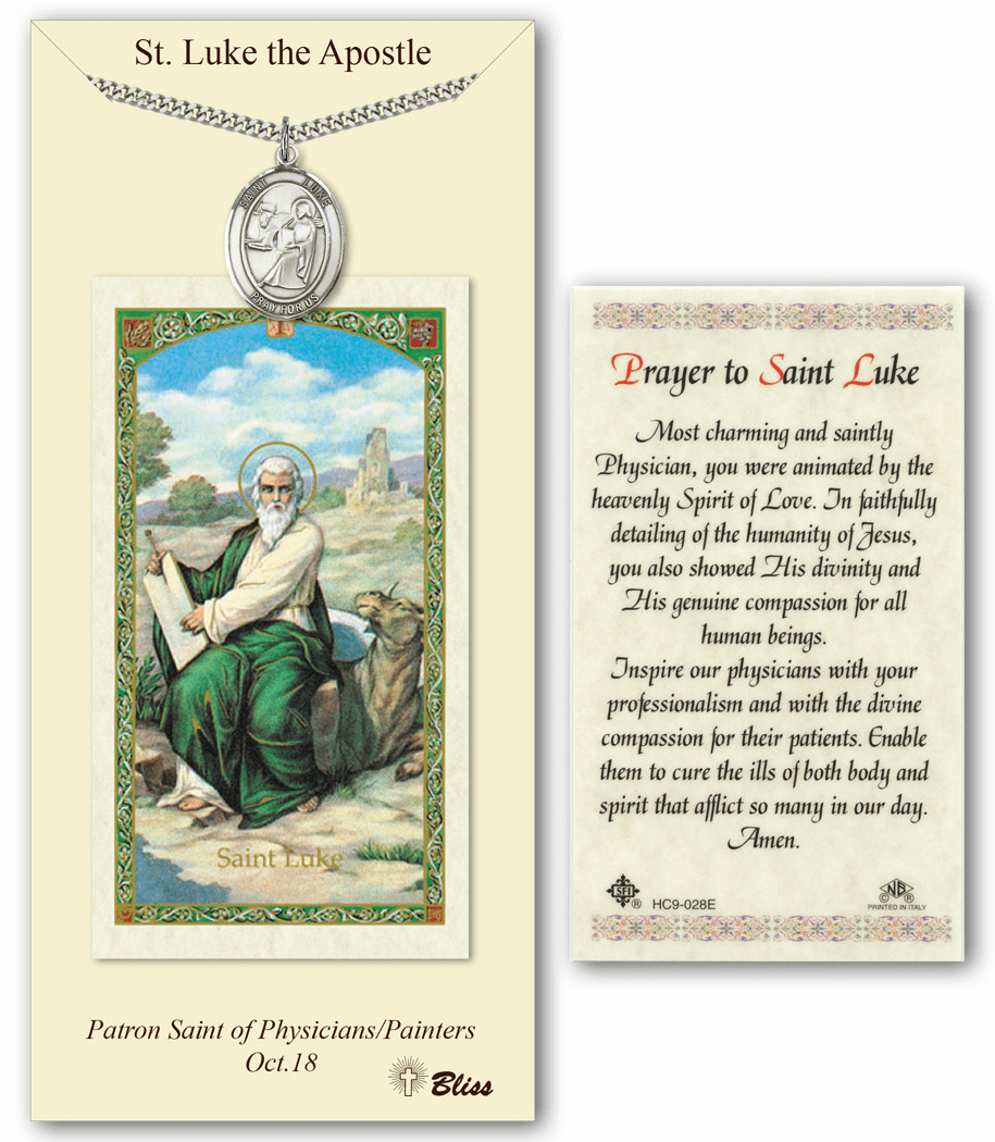 Bliss Mfg St Luke the Apostle Prayer Card & Pendant Gift Set