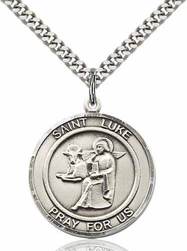 St Luke the Apostle Round Patron Saint Medal Necklace by Bliss