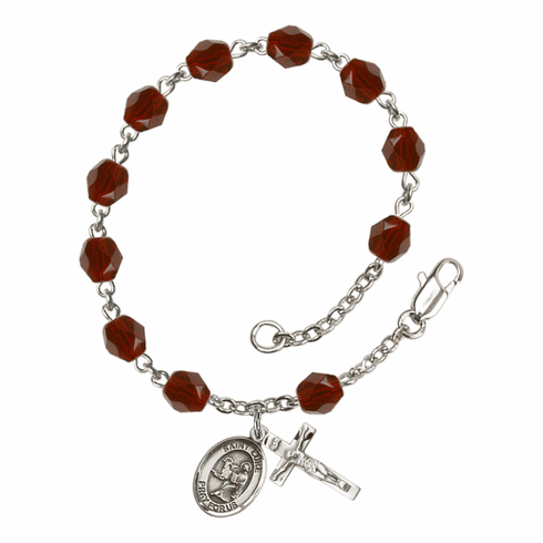 St Luke the Apostle Silver Plate Birthstone Rosary Bracelet by Bliss