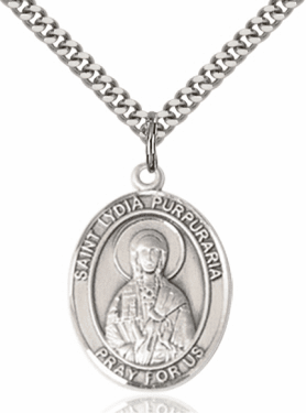 St Lydia Purpuraria Pewter Patron Saint Necklace by Bliss
