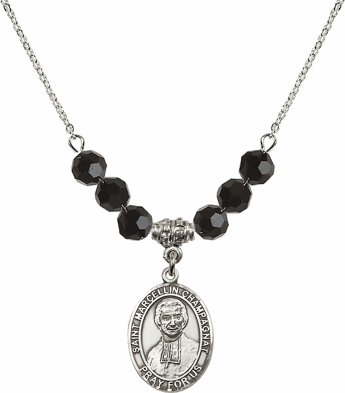 St Marcellin Champagnat Jet Black Necklace by Bliss Mfg