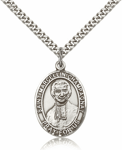 St Marcellin Champagnat Pewter Patron Saint Necklace by Bliss