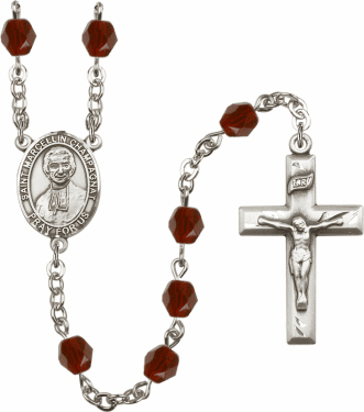 St Marcellin Champagnat Silver Plate Birthstone Crystal Prayer Rosary by Bliss