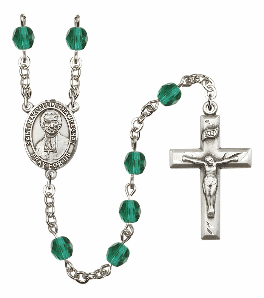 Bliss St Marcellin Champagnat Birthstone Crystal Rosary - More Colors