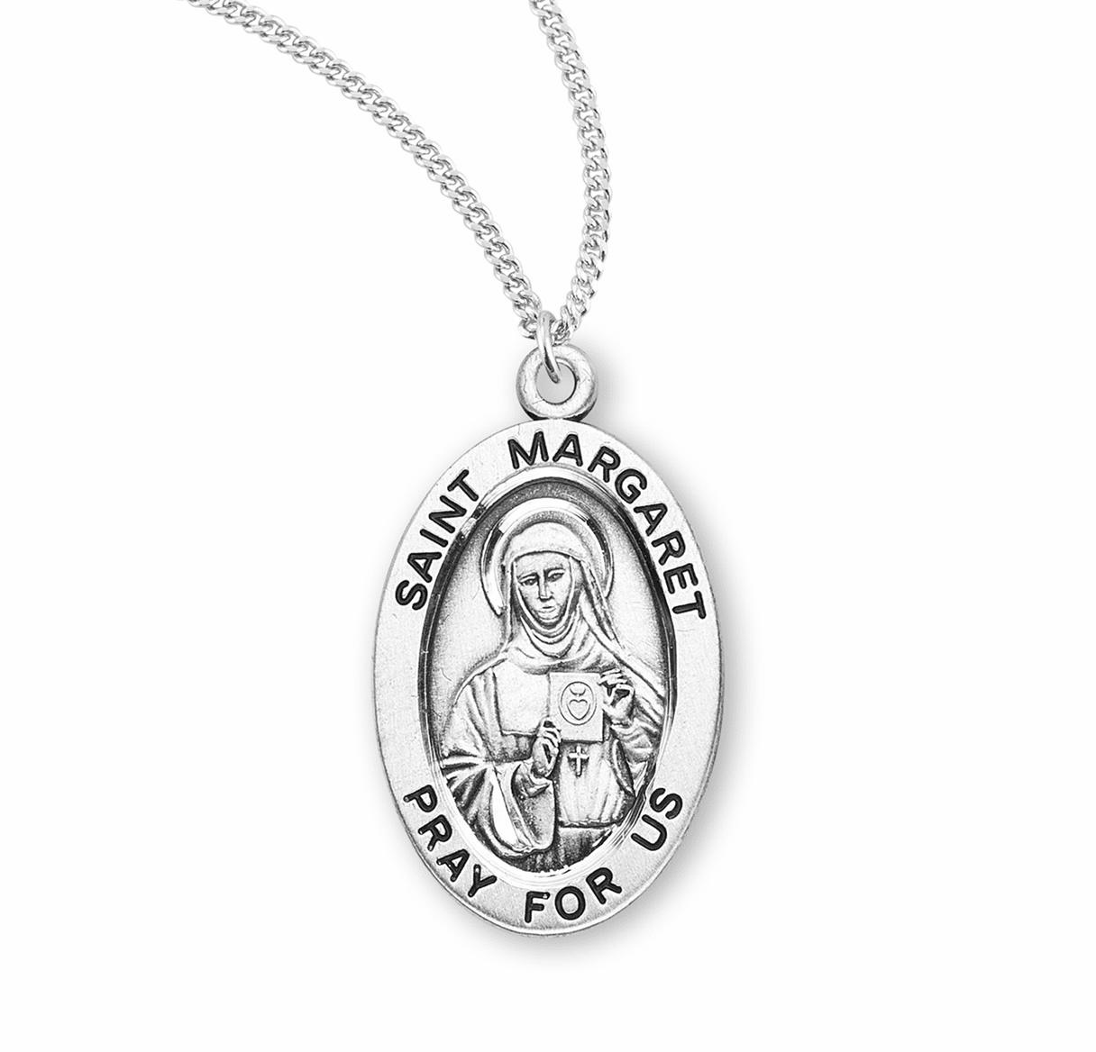 HMH Religious St Margaret Sterling Silver Medal Necklace