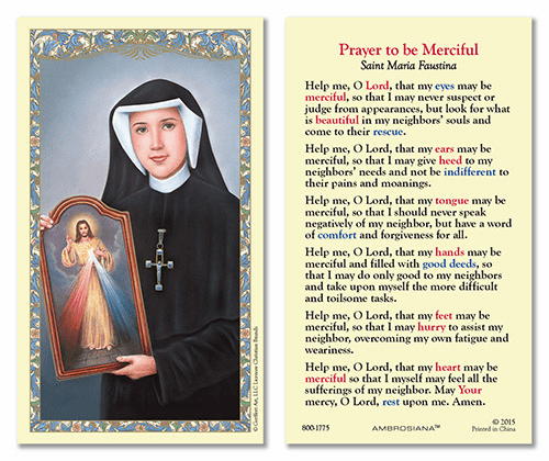 St Maria Faustina Prayer to Be Merciful Gerffert 25pkg Holy Cards
