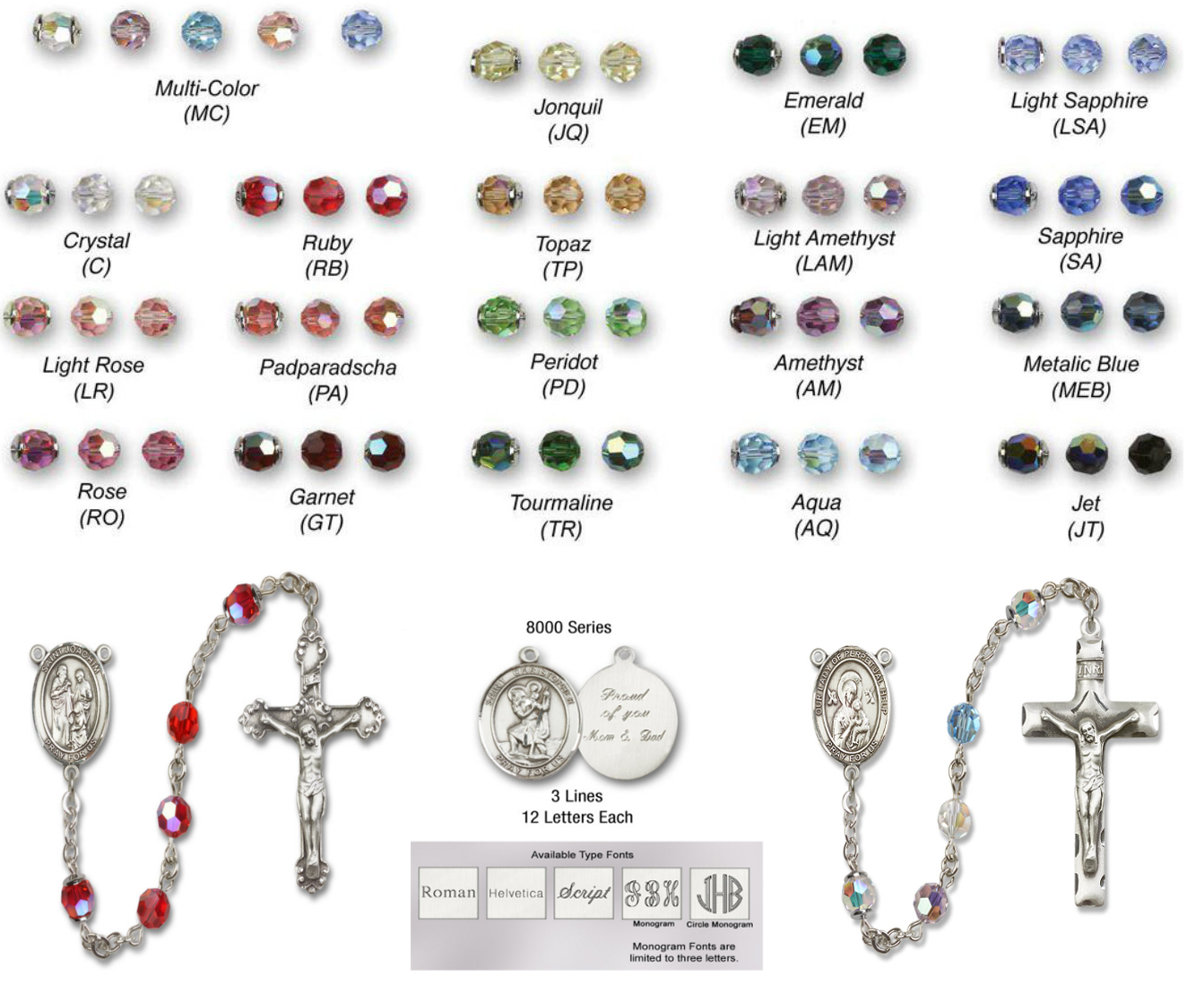 St All Sterling Silver Rosary with Light Sapphire Austrian Tin Cut Aurora Borealis Beads 6mm Swarovski Sebastian//Tennis Center is the Patron Saint of Athletes//Soldiers.