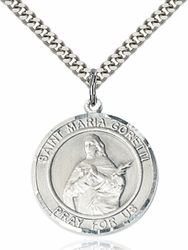 St Maria Goretti Round Patron Saint Medal Necklace by Bliss