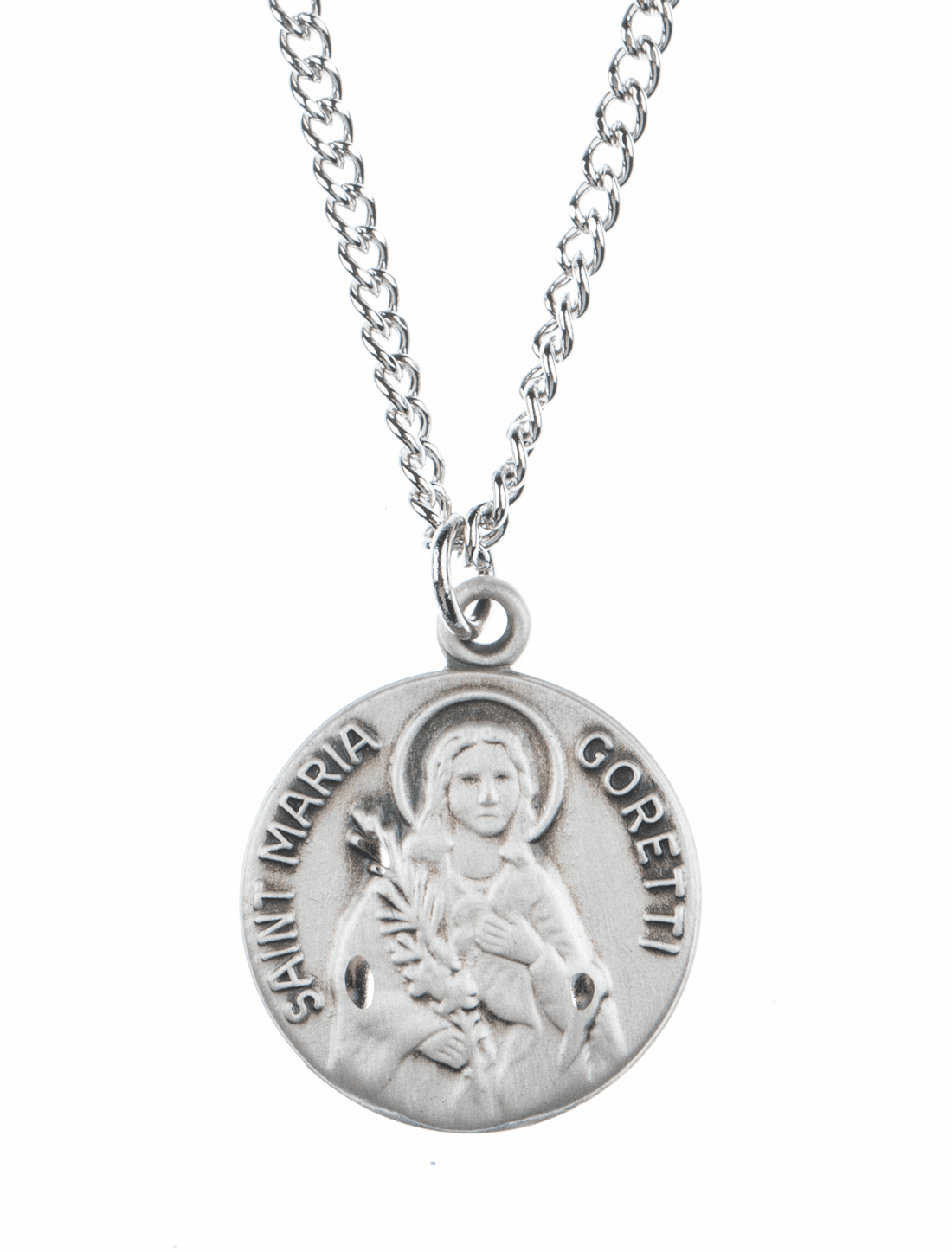 "St Maria Goretti Saint Medal Pendant w/18"" Chain by Jeweled Cross"
