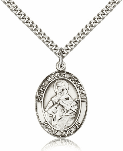 St Maria Goretti Silver-filled Patron Saint Necklace with Chain by Bliss