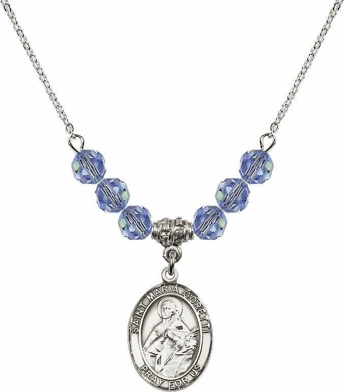 St Maria Goretti Sterling Lt Sapphire Crystal Beaded Necklace by Bliss Mfg