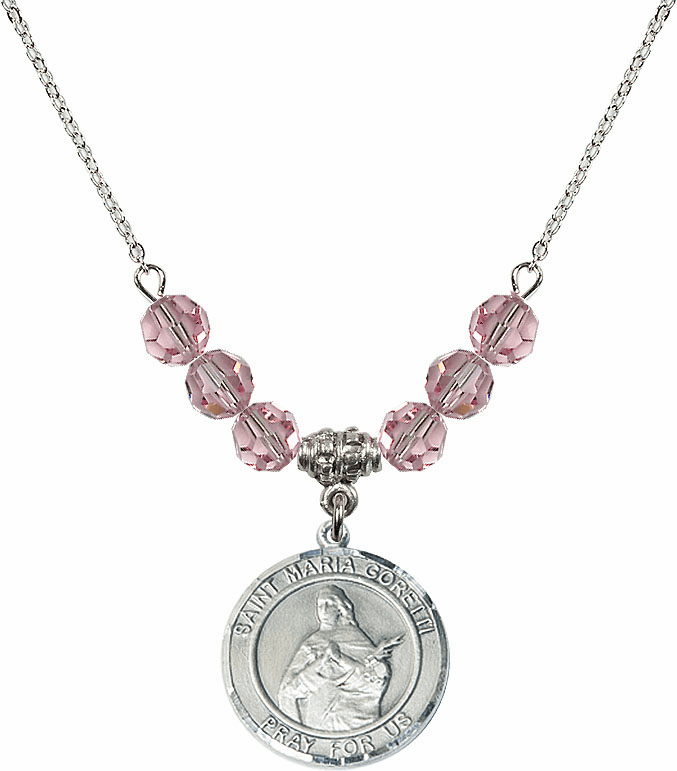 St Maria Goretti Sterling Lt Rose Crystal Beaded Necklace by Bliss Mfg
