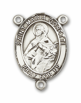 St Maria Goretti Sterling Silver Saint Rosary Center by Bliss