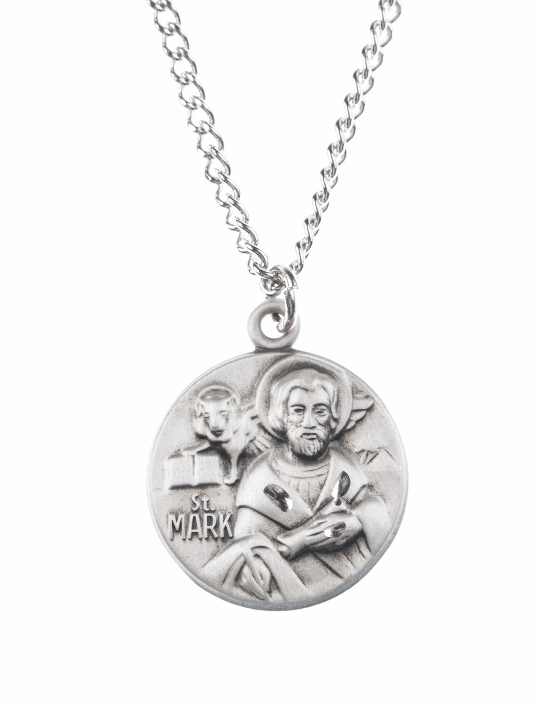 "St Mark Saint Medal Pendant w/18"" Chain by Jeweled Cross"