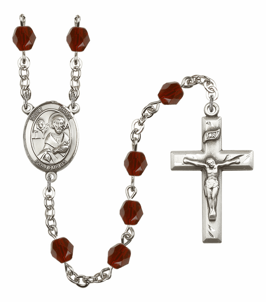 St Mark the Evangelist Silver Plate Birthstone Crystal Prayer Rosary by Bliss