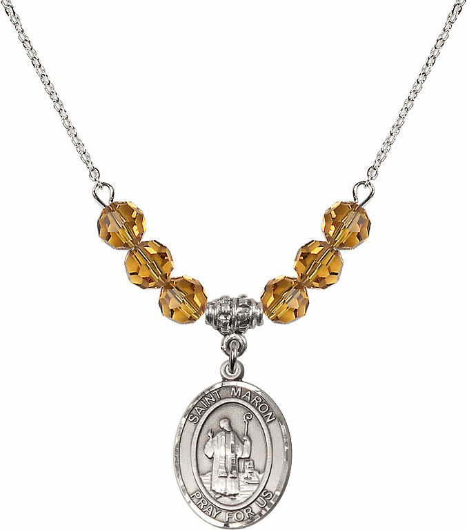St Maron Saint Medal Beaded Necklace Jewelry